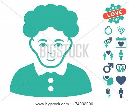 Brunette Woman icon with bonus romantic pictograms. Vector illustration style is flat iconic cobalt and cyan symbols on white background.