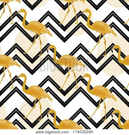 Hand drawn gold flamingo with chevron background. Vector illustration. Exotic bird. Seamless pattern background