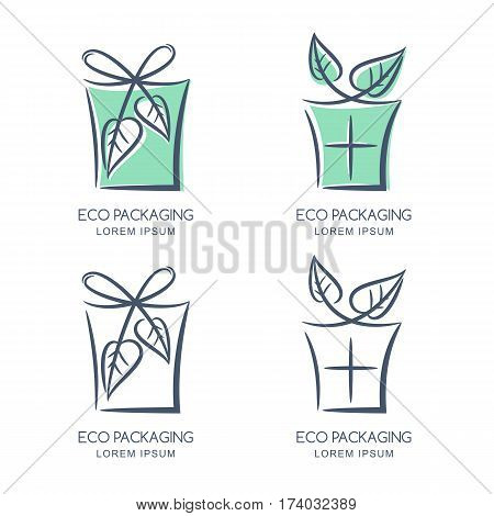 Vector Eco Packaging Logo, Icon Or Emblem Design Template. Sketch Box Illustration With Bow From Gre