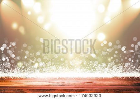 empty wooden on golden lighting backdrop. christmas light background. Wood table top. can used for display or montage your products