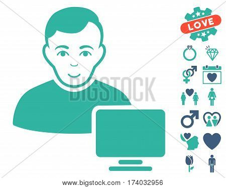 Computer Administrator pictograph with bonus lovely pictograms. Vector illustration style is flat iconic cobalt and cyan symbols on white background.
