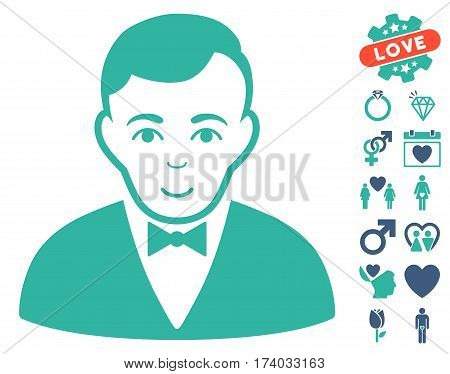 Dealer icon with bonus decorative symbols. Vector illustration style is flat iconic cobalt and cyan symbols on white background.