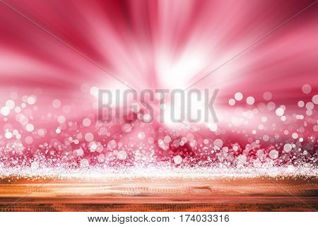 empty wooden on pink backdrop. christmas light background