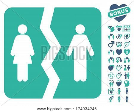 Divorce pictograph with bonus valentine images. Vector illustration style is flat iconic cobalt and cyan symbols on white background.