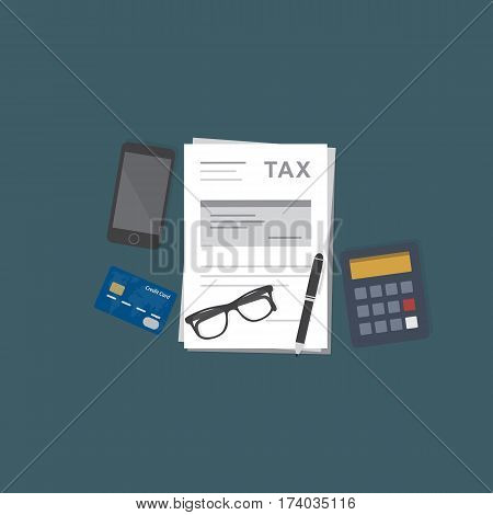 Tax Payment Illustration. Calculator, Credit Card, Smartphone, Eyeglasses and Tax Form Document