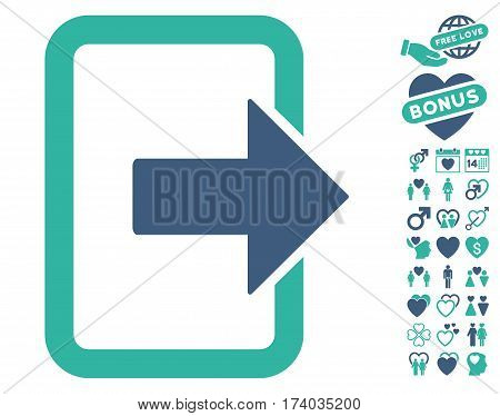 Exit Door pictograph with bonus love pictograph collection. Vector illustration style is flat iconic cobalt and cyan symbols on white background.