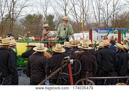 STRASBURG PENNSYLVANIA - February 25 2017: Amish auctioneers volunteer at the annual spring auction