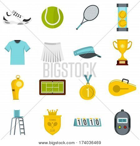 Tennis set icons in flat style isolated on white background