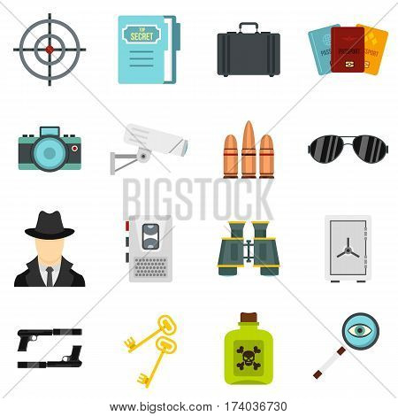 Spy tools set icons in flat style isolated on white background