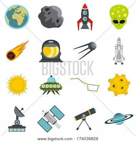 Space set icons in flat style isolated on white background