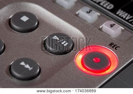 Red Record Button Illuminated On Recorder