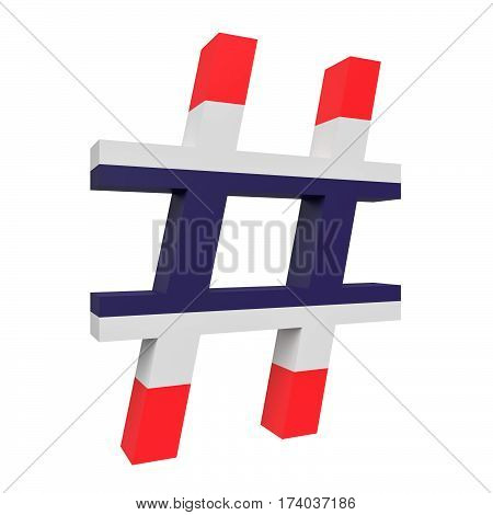 3d Thailand Flag Hash Tag Sign Isolated On White Background 3d illustration