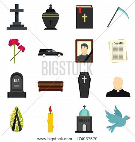 Funeral set icons in flat style isolated on white background