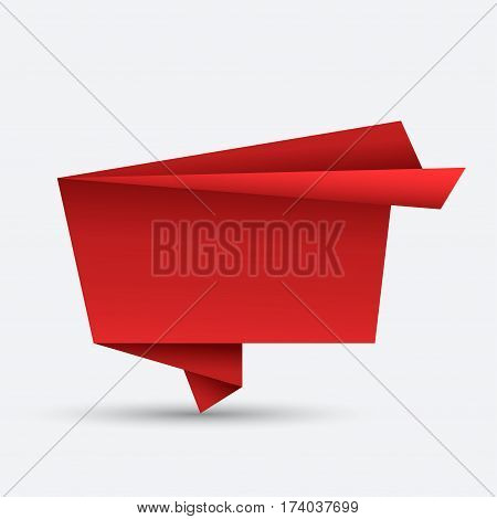 Vector modern bubble speech origami on white background