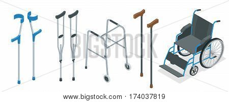 Isometric set of mobility aids including a wheelchair, walker, crutches, quad cane, and forearm crutches. Vector illustration. Health care concept