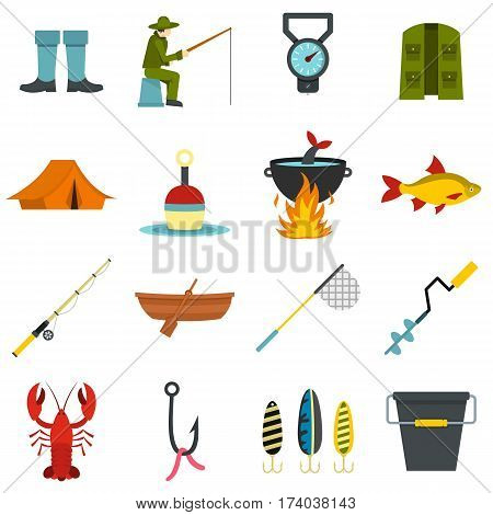 Fire fighting set icons in flat style isolated on white background