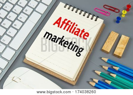 Affiliate marketing, Text message on white paperaffiliate
