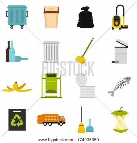 Garbage thing set icons in flat style isolated on white background