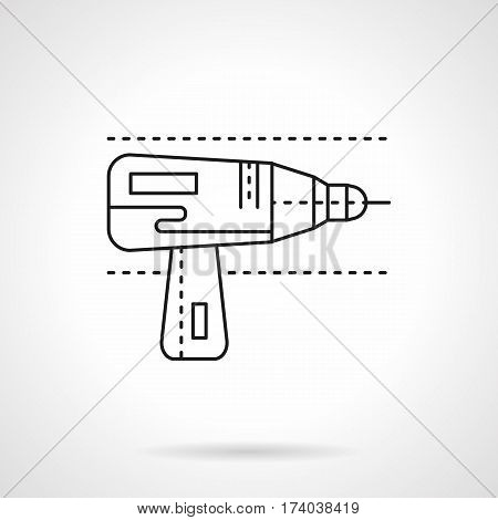 Symbol of electric drill. Equipment and tools for metal processing, repair works, carpentry. Flat black line vector icon.