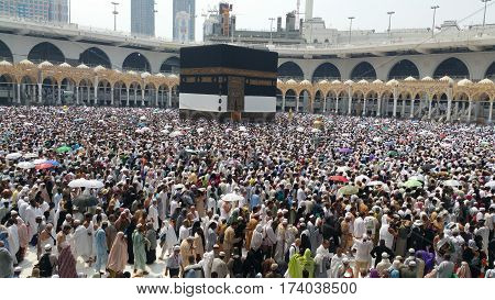 MECCA SAUDI ARABIA September 2016 - Muslim pilgrims from all over the world gathered to perform Umrah or Hajj at the Haram Mosque in Mecca Saudi Arabia days of Hajj