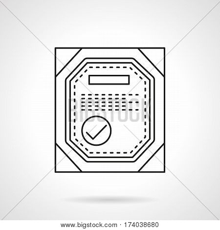 Abstract symbol of verified quality certificate. Control of different products. Flat black line vector icon.