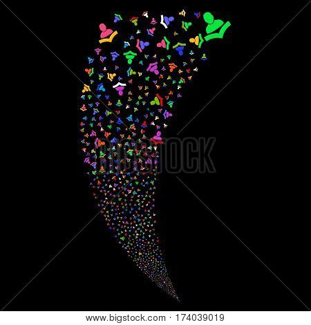 Book Reader random fireworks stream. Vector illustration style is flat bright multicolored iconic symbols on a black background. Object fountain created from scattered icons.