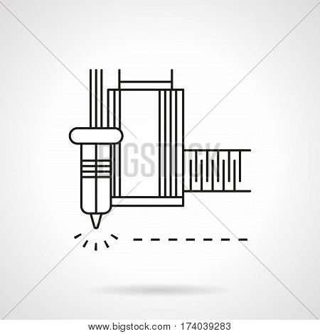 Abstract symbol of machine element for constant laser cutting. Metal processing equipment. Flat black line vector icon.
