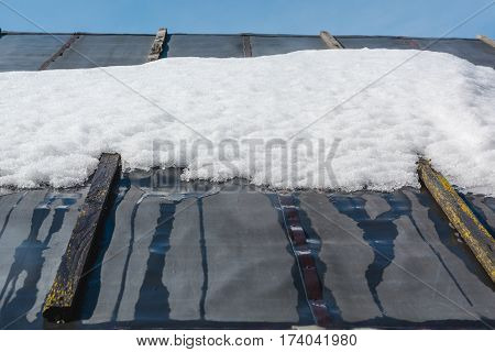 Thawing Of Snow On A Roof. Snow Has Thawed On The Rooftop.