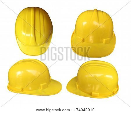 Set of yellow hard hat safety Helmet isolated on white background.