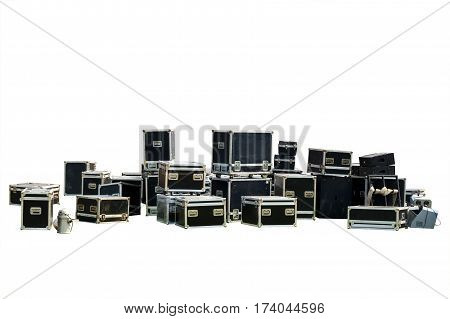 Equipment crate isolated for music-related shipping Clipping path