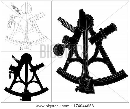 Antique Navigate Ship Sextant Isolated Illustration Vector 01