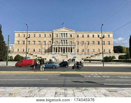 ATHENS - FEBRUARY 28, 2017: The Hellenic Greek Parliament building located in the Old Royal Palace, overlooking Syntagma Square in Athens, Greece.