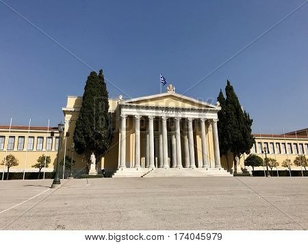 ATHENS - FEBRUARY 28, 2017: The Zappeion Hall, originally used for the 1896 Olympic Games, now used for official and private meetings and ceremonies in Central Athens, Greece.