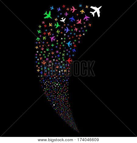 Jet Plane random fireworks stream. Vector illustration style is flat bright multicolored iconic symbols on a black background. Object fountain combined from scattered symbols.