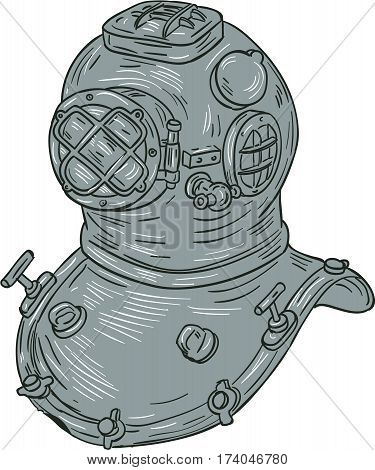 Drawing sketch style illustration of a copper and brass old school deep sea diving helmet or Standard diving helmet (Copper hat) worn mainly by professional divers engaged in surface supplied diving set on isolated white background.
