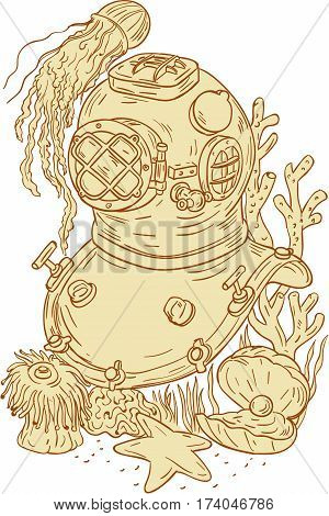 Drawing sketch style illustration of a copper and brass old school diving helmet underwater with jellyfish starfish oyster with pearl and coral set on isolated white background.