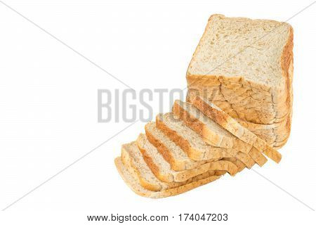 sliced wholewheat bread on white background object