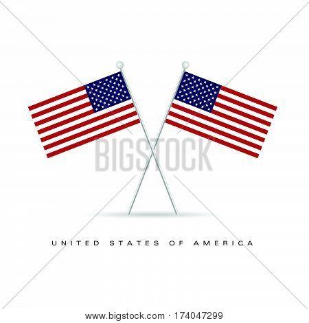 American Flag Icon Color Illustration
