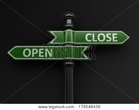 3D Illustration. Open and close pointers on signpost. Image with clipping path