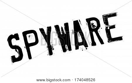 Spyware rubber stamp. Grunge design with dust scratches. Effects can be easily removed for a clean, crisp look. Color is easily changed.