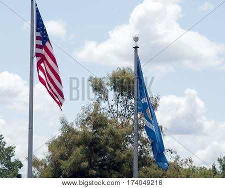 American And Louisiana Flags