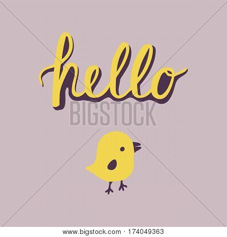 Spring and Easter cards poster. Greeting card with modern calligraphy Hello and cartoon yellow chicks for design invitation, cards, banner, poster.