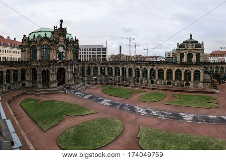 Dresden Zwinger Wall Architecture Monument Germany Travel Tourism Interior Entrance Inside Doorway A