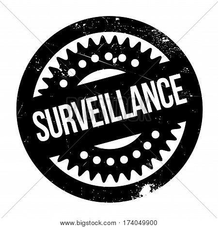 Surveillance rubber stamp. Grunge design with dust scratches. Effects can be easily removed for a clean, crisp look. Color is easily changed.