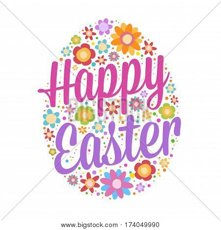 Vector stock of happy easter greetings lettering with colorful flowers background
