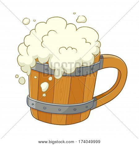 Vector stock of traditional wooden beer mug with overflown foam