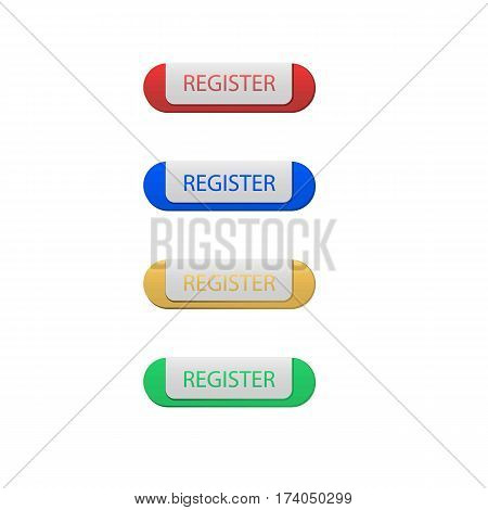 Colorful Set of Register Button. Isolated on White.