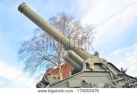 Old howitzer in Military Historical Museum of Artillery in St.Petersburg Russia.