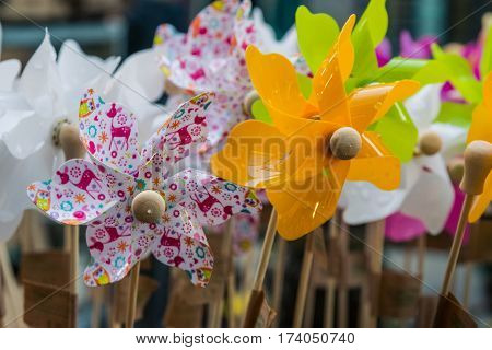Pinwheels On Sale Market Group Together Crowded Bunch Many Colorful Decorated Flowers Toys