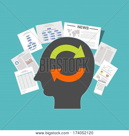 State of mind. Reading literature. Collecting information. Improve knowledge concept